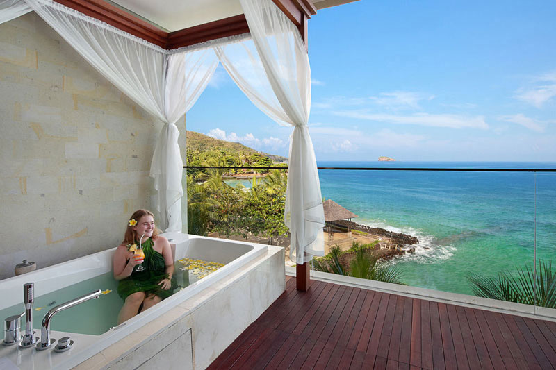 14 romantic bali villas with the most indulgent bathtubs and jacuzzis. Black Bedroom Furniture Sets. Home Design Ideas