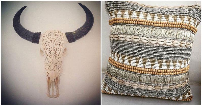 1.-toko-handcarvedwaterbuffaloskull,-handbeadedcushions-by-tokoemporium